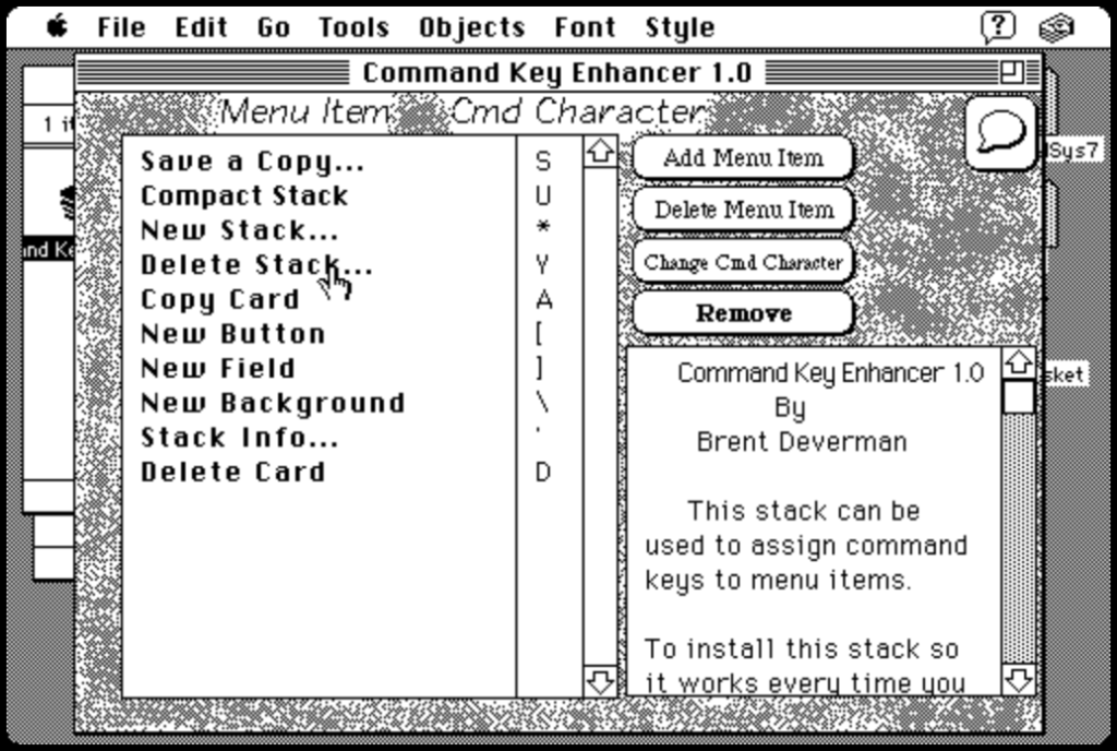 Screen Shot of Hypercard stack